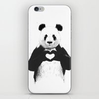 panda iPhone & iPod Skins featuring All you need is love by Balazs Solti