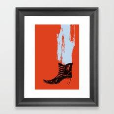 the boot goes on Framed Art Print