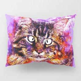 squinting maine coon cat splatter watercolor Pillow Sham