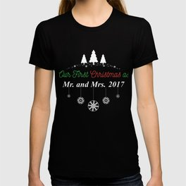 Couple Wife Husband Our First Christmas As Mr and Mrs T Shirt T-shirt