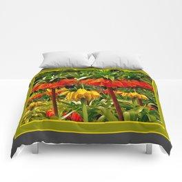 YELLOW & ORANGE CROWN IMPERIALS GARDEN Comforters