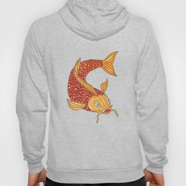 Koi Nishikigoi Carp Fish Swimming Down Drawing Hoody