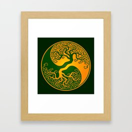 Green and Yellow Tree of Life Yin Yang Framed Art Print