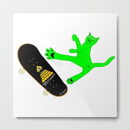 """Skateboading Ninja Cat"", by Brock Springstead Metal Print"