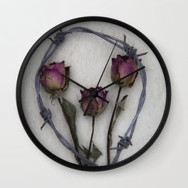 Three dried Roses II Wall Clock