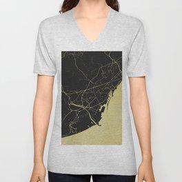Barcelona Black and Gold Map Unisex V-Neck