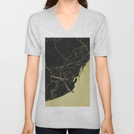 Barcelona Black and Gold Map Unisex V-Neck