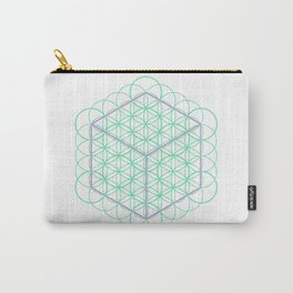 Sacred Geometry - glowing energy lines - cube and flowers Carry-All Pouch