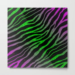 Ripped SpaceTime Stripes - Pink/Green Metal Print