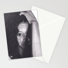 Realism Charcoal Drawing of Woman from Honduras Stationery Cards