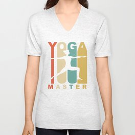 Vintage Style Yoga Master Warrior Two Yoga Pose Retro Unisex V-Neck