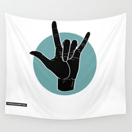 ILY - I Love You - Sign Language - Black on Green Blue 00 Wall Tapestry