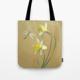 Daffodil and Dragonfly Tote Bag