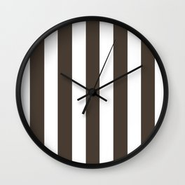 Dark taupe brown - solid color - white vertical lines pattern Wall Clock