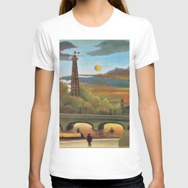 River Seine and Eiffel tower in the sunset by Henri Rousseau T-shirt
