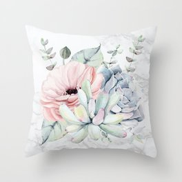 Pretty Succulents on Marble Watercolor by Nature Magick Throw Pillow