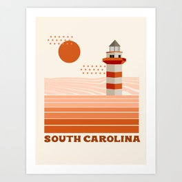 South Carolina - retro 70s style travel poster minimal lighthouses 1970's ocean beach Art Print