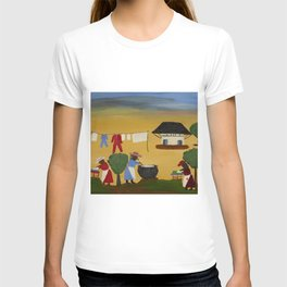 African American Masterpiece 'The Wash' portrait painting by Clementine Hunter   T-shirt