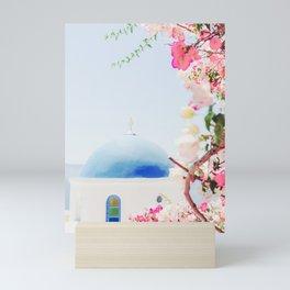 Santorini Greece Mamma Mia Pink Flowers Mini Art Print
