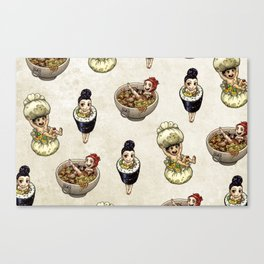 FOOD FAERIES- udon, sushi, and dimsum Canvas Print