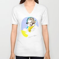 beethoven V-neck T-shirts featuring Ludwig van Beethoven 8 by Marko Köppe