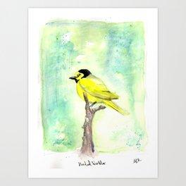 Hooded warbler in watercolor Art Print