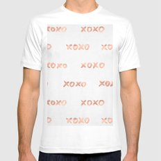Valentines Day Rose Gold Words - XOXO White Mens Fitted Tee MEDIUM