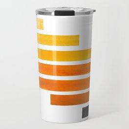 Orange Yellow Ocre Midcentury Modern Minimalist Staggered Stripes Rectangle Geometric Pattern Waterc Travel Mug