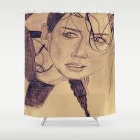 katniss Shower Curtains featuring Katniss Everdeen by KOverbee