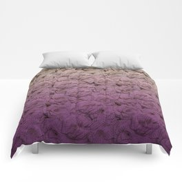 Purple Ombre Book Page Flower Roses Comforters