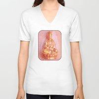 budi satria kwan V-neck T-shirts featuring Rose-Bronze Kwan Yin by Jan4insight