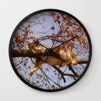 gondor Wall Clocks featuring Cat on a tree by Augustinet