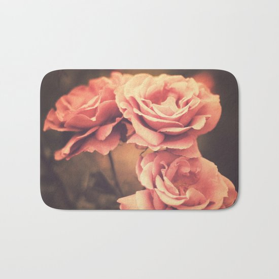 Three Pink Roses (Vintage Flower Photography) Bath Mat