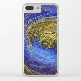 444 Gold and Blue Rose Mosaic Clear iPhone Case