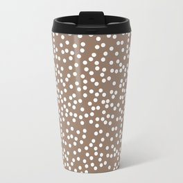 Malt Brown and White Polka Dot Pattern Travel Mug