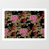 Japanese Peony Floral - Black Art Print