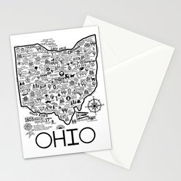 Map Of Ohio Stationery Cards