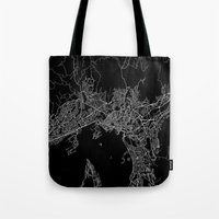 oslo Tote Bags featuring Oslo by Line Line Lines