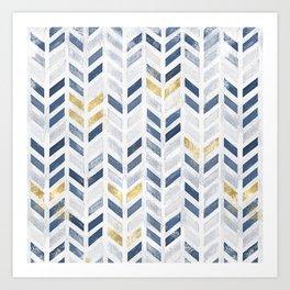 Herringbone chevron pattern. Indigo gold acrylic on canvas Art Print