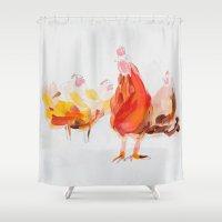 chicken Shower Curtains featuring Chicken by Ingo H. Klett