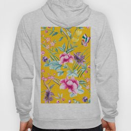 Chinoiserie mustard yellow floral Hoody