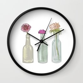flowers in glass bottles . Pastel colors . Illustration / artwork Wall Clock