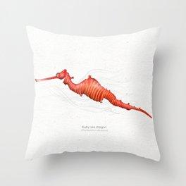 Ruby seadragon art print Throw Pillow
