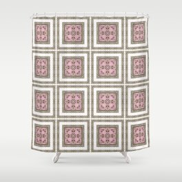 Black and white ornament Shower Curtain