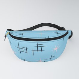 Retro Baby Blue Atomic Age Pattern Fanny Pack