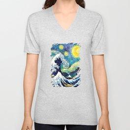 Starry Wave Night Unisex V-Neck