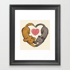 Cat Love Dog Framed Art Print
