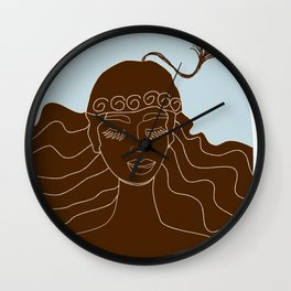 Magical Winter lineart - chocolate and blue Wall Clock