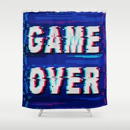Game Over Glitch Text Distorted Shower Curtain