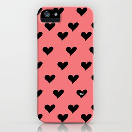 Retro Hearts Pattern iPhone Case